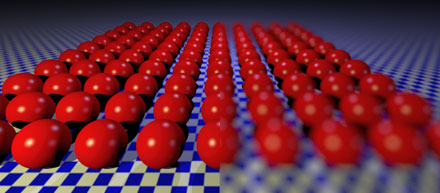 illustration of depth of field on a grid of spheres.  render script: examples/cameras/depth_of_field.py