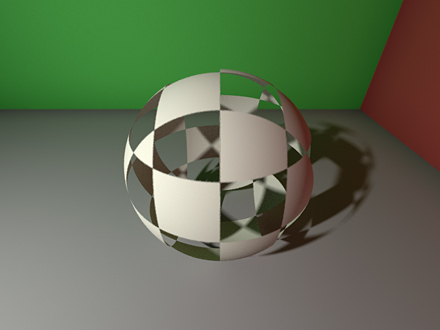 a sphere clip mapped by a CheckerVolume
