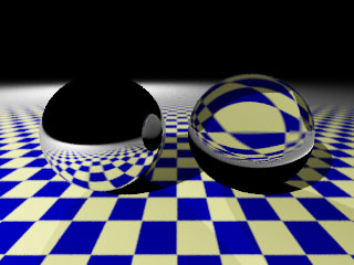 reflecting and refracting sphere on a checkerboard pattern.  rendered by examples/textures/anti_aliasing.py