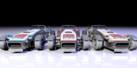 Front view of the LX6 cars with team skin.  Model courtesy